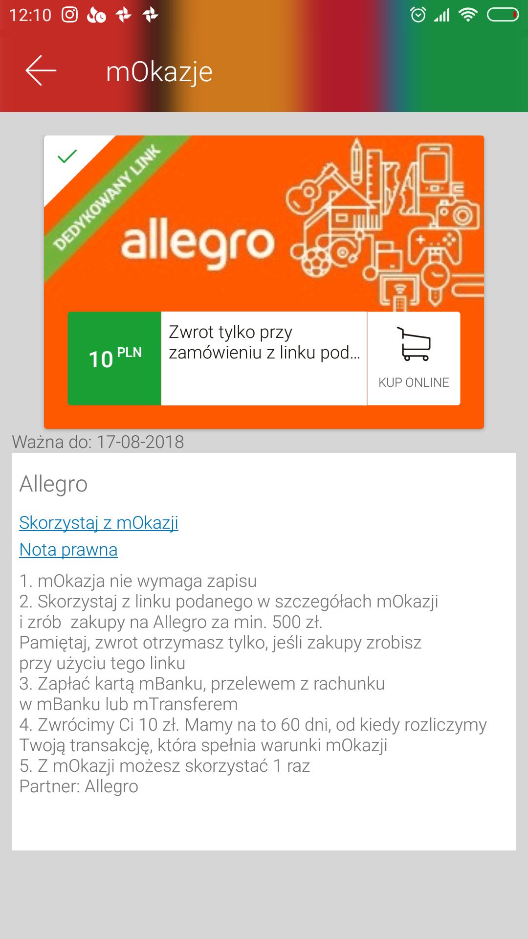 mBank - zwrot 10zł za zakupy na Allegro za minimum 500zł