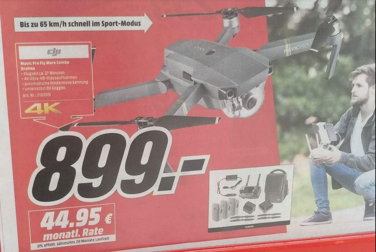 DJI Mavic PRO Fly More Combo 899EUR ~ 3830PLN @MediaMarkt.de