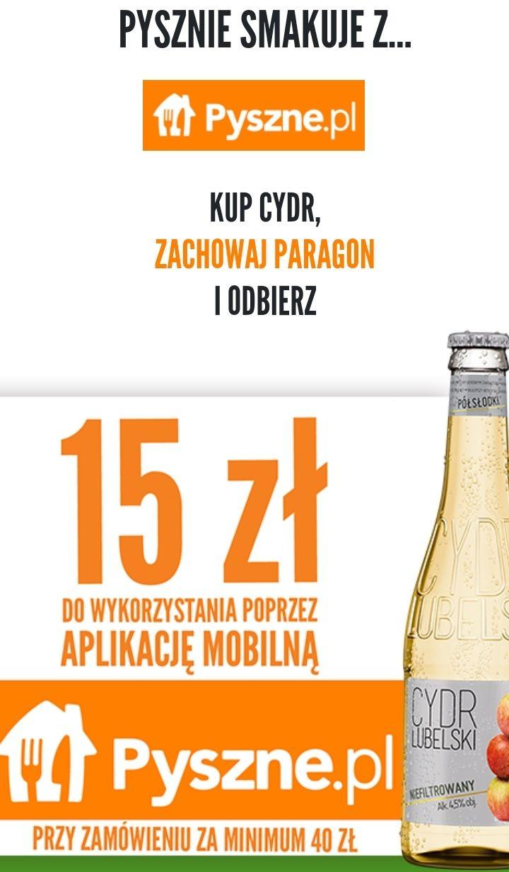 Kup Cydr Lubelski i odbierz 15zł (MWZ 40zł) w aplikacji Pyszne.pl