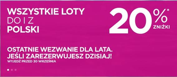 20% zniżki na loty do i z Polski do końca września