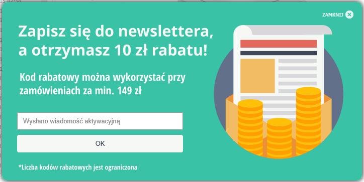 10 zł na zakupy od 149 zł za zapisanie się do newslettera na satysfakcja.pl