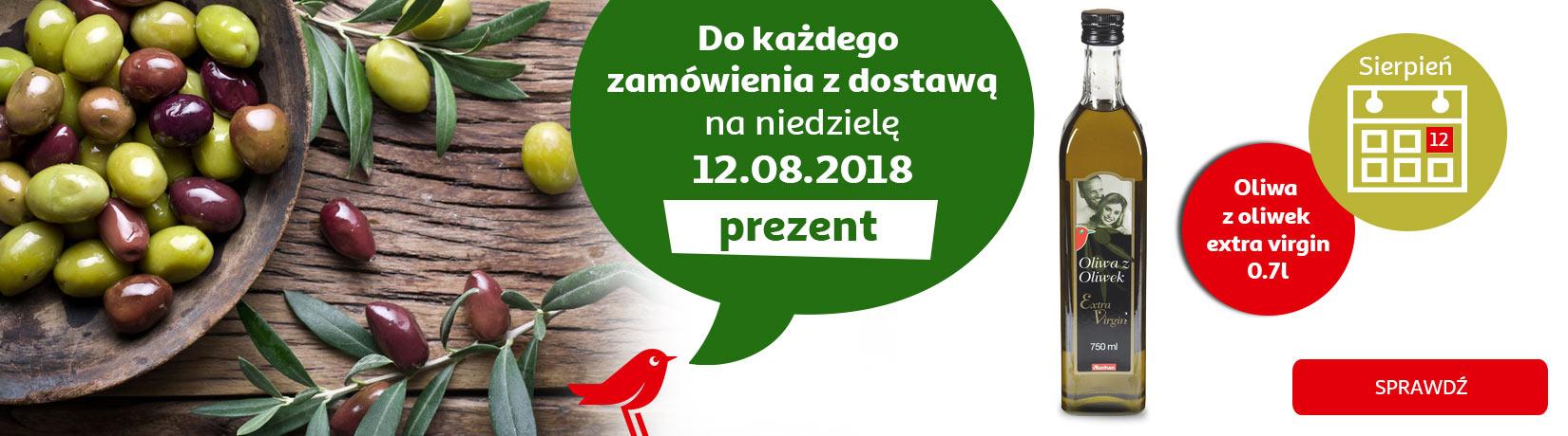 Oliwa z oliwek extra virgin 0,7l gratis do zamówienia na niedzielę 12.08 @Auchan Direct