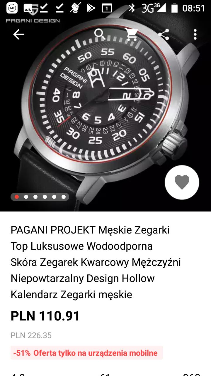 zegarek pagani design ładny pilot z