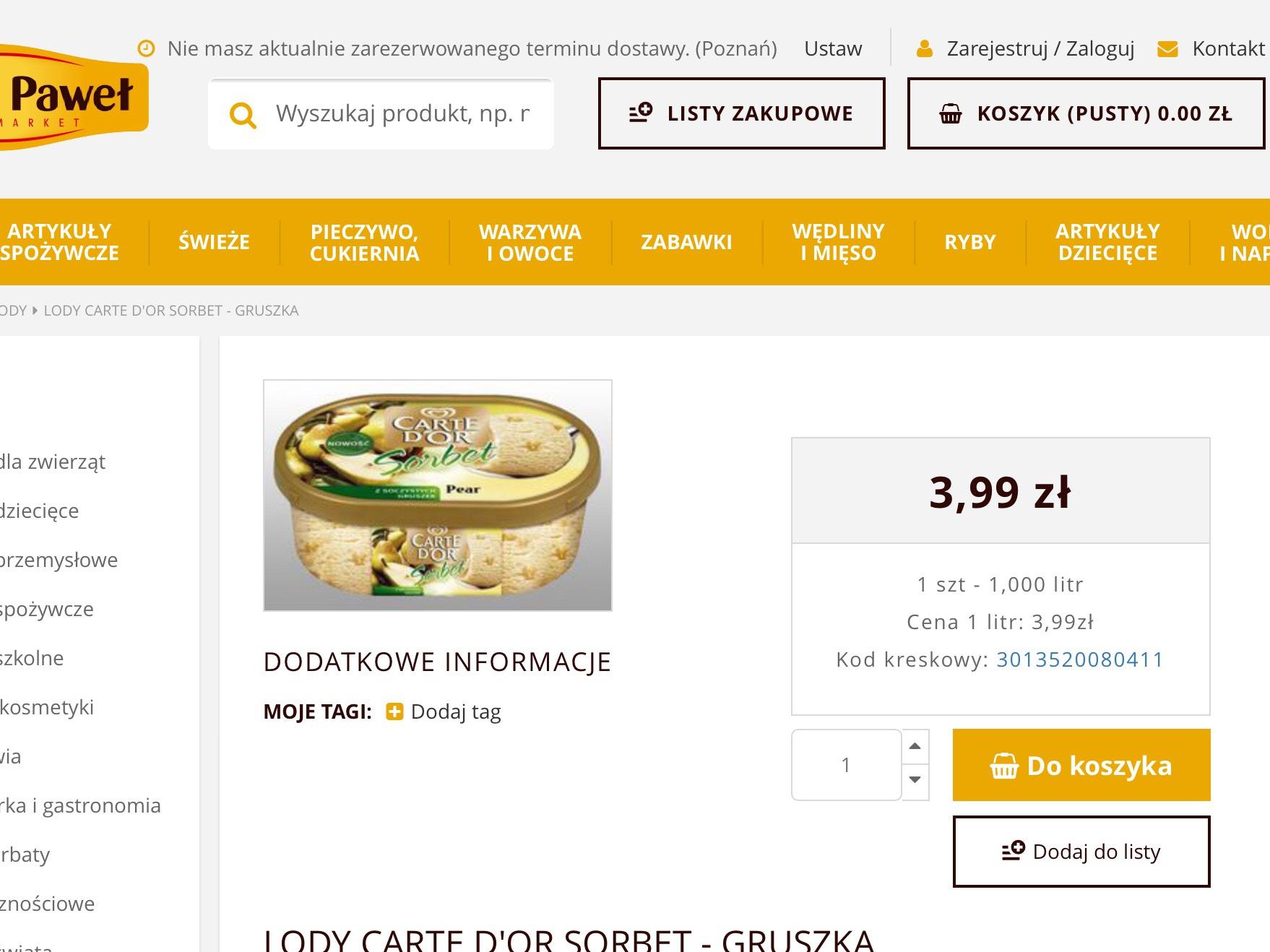 Lody Carte d'or Sorbet gruszka 1000ml  /ePiotriPaweł