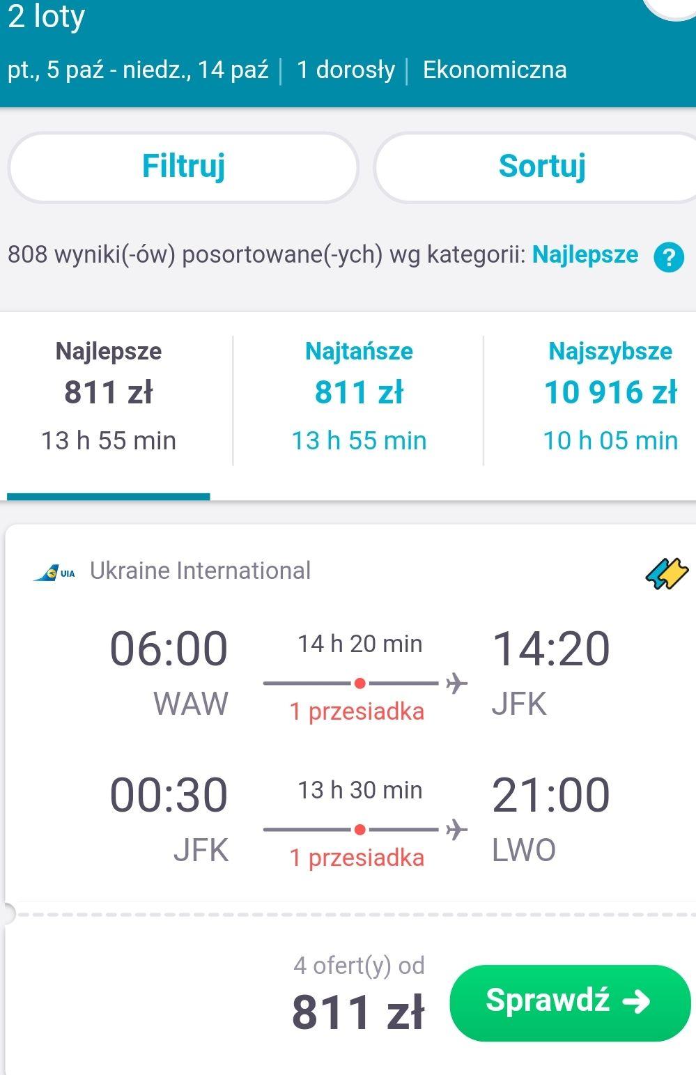 Super tanie loty do USA! Bilety do Nowego Jorku od 811 PLN (dużo terminów, również z Warszawy i Krakowa) link w opisie