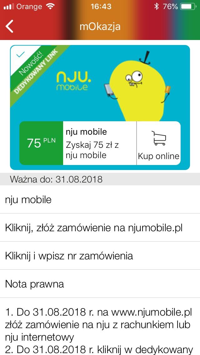 mOkazja 75 pln za przeniesienie numeru do Nju Mobile