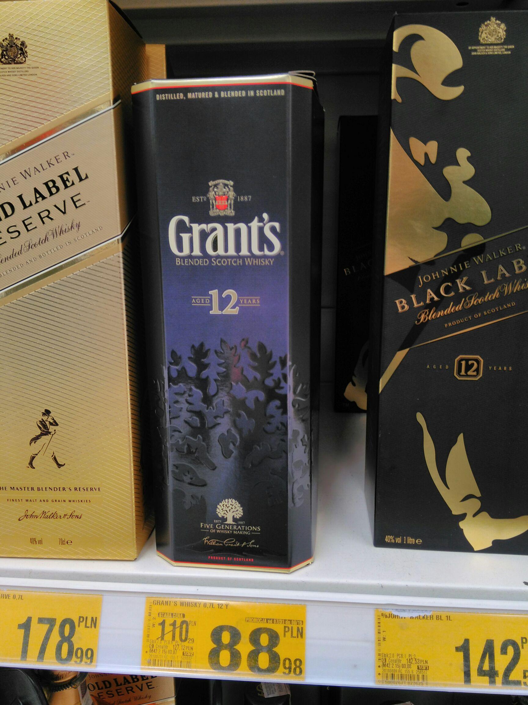 Grants whisky 0,7 l, 12 letnia w Auchan za 88,98 zl