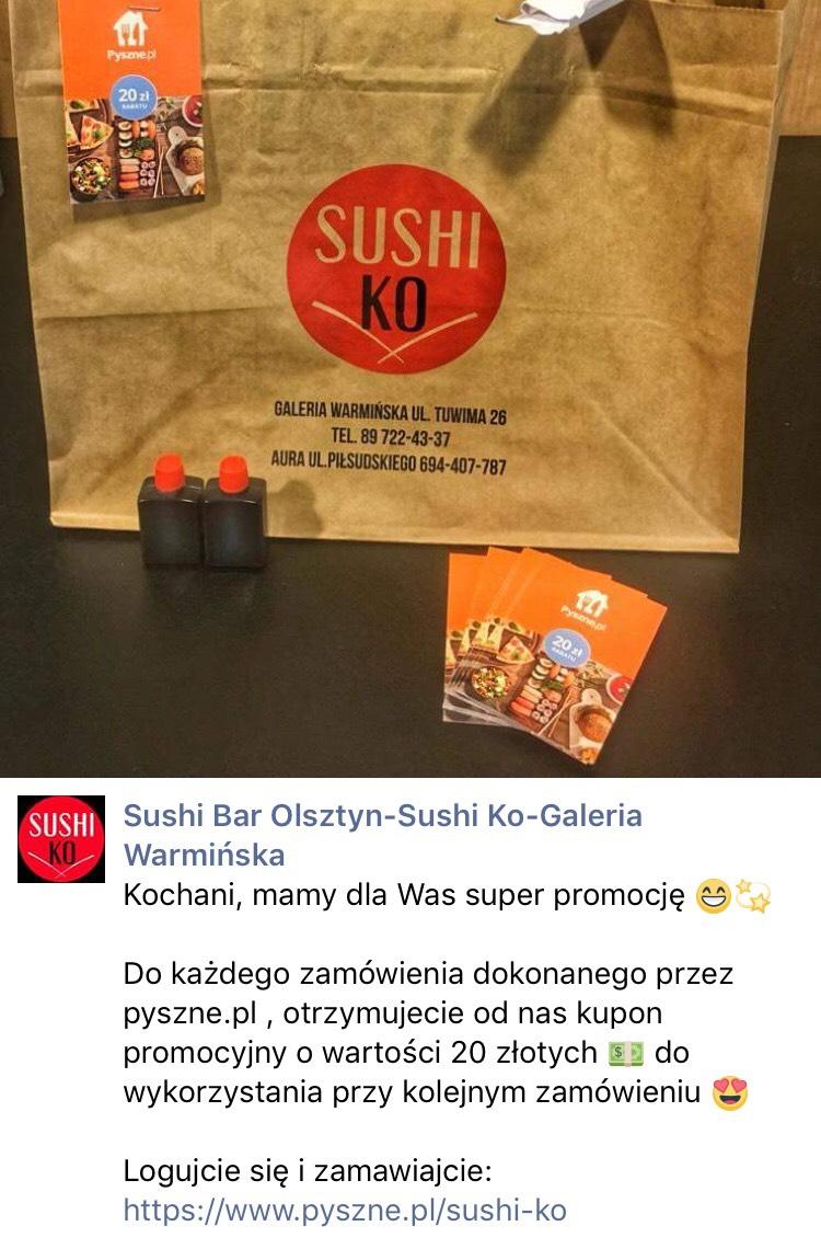 Sushi Ko Olsztyn -20zł na kolejne zamówienie w pyszne.pl @ lokalne olsztyn