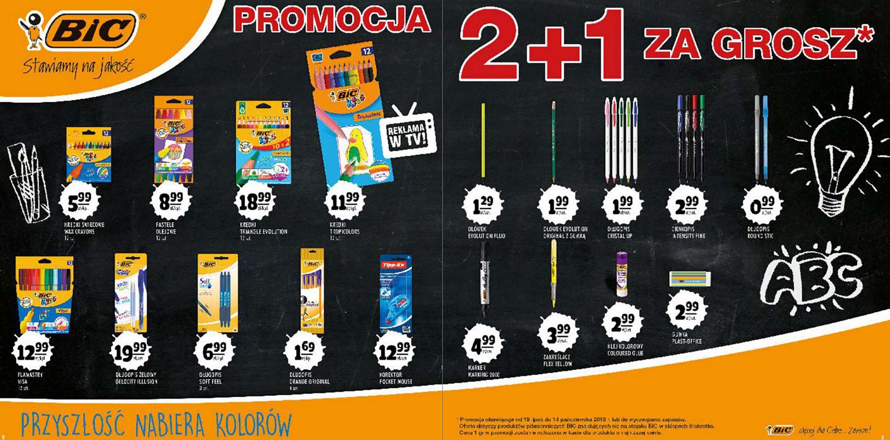Promocja produktów piśmienniczych BIC: 2 + 1 za grosz @ Stokrotka