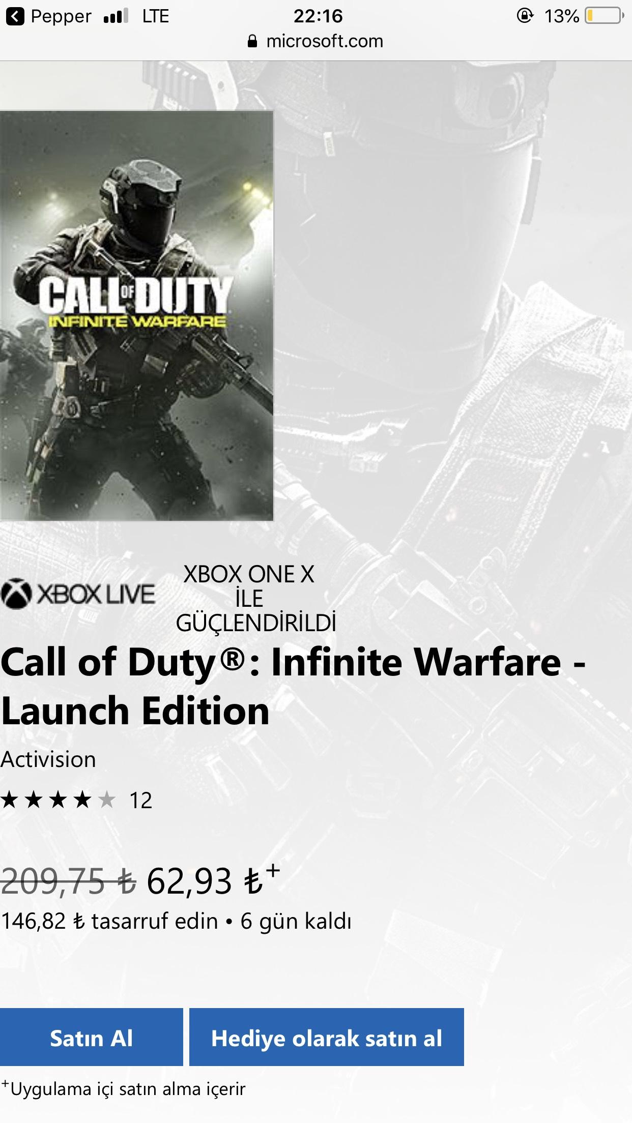 Call of Duty®: Infinite Warfare - Edycja Premierowa z Tureckiego MS Store (XBOX) (XONE)