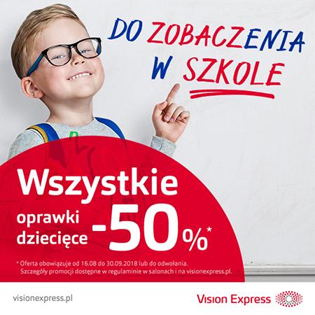 -50% na wszystkie oprawki dziecięce @ Vision Express