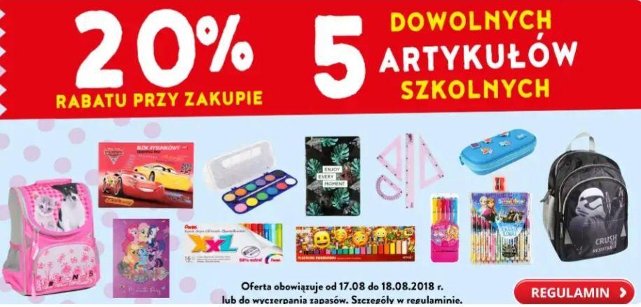 20% rabatu przy zakupie 5 artykułów szkolnych @Biedronka