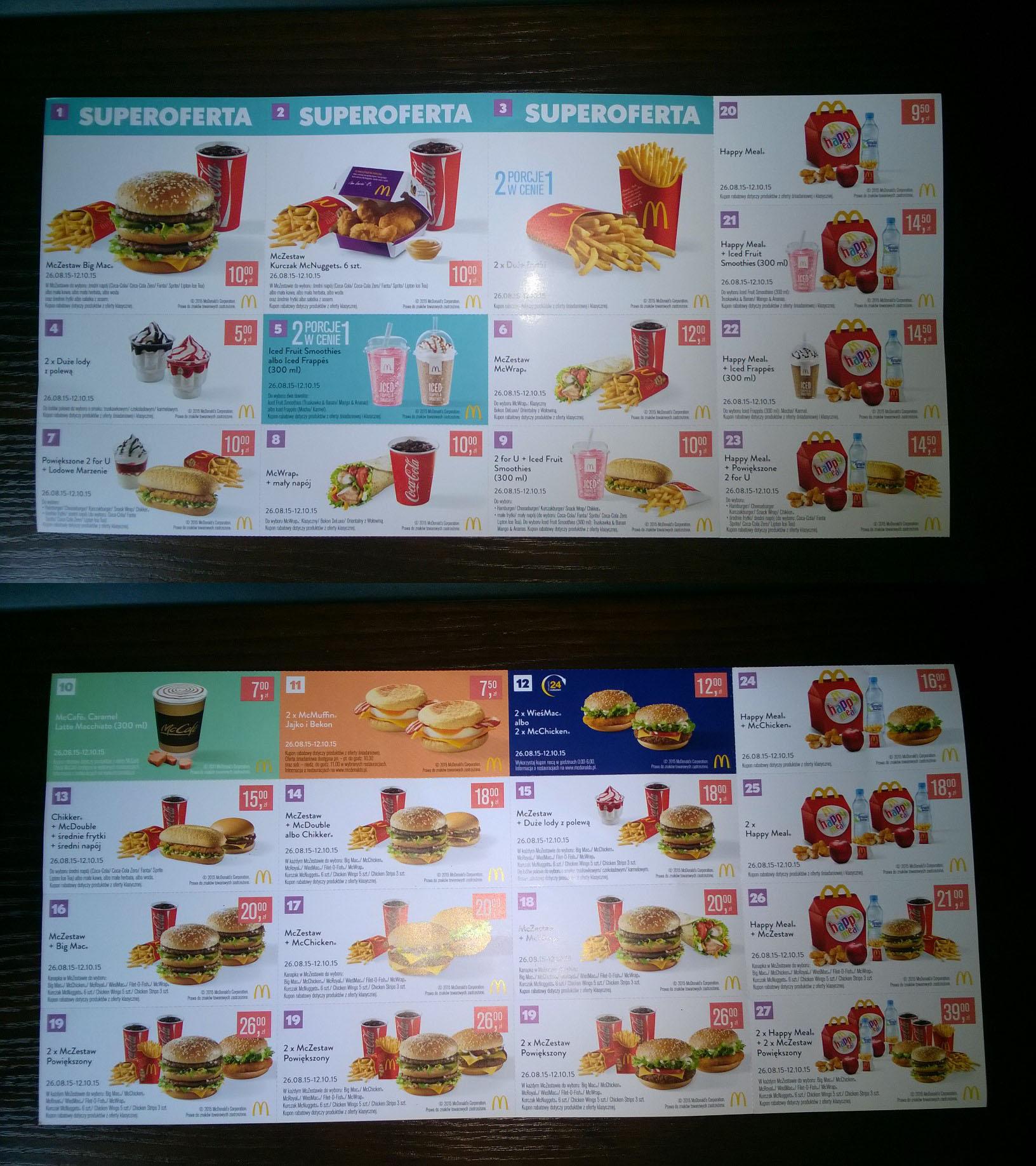 Nowe Kupony Rabatowe (Oszczędność nawet 185zł) @ McDonald's