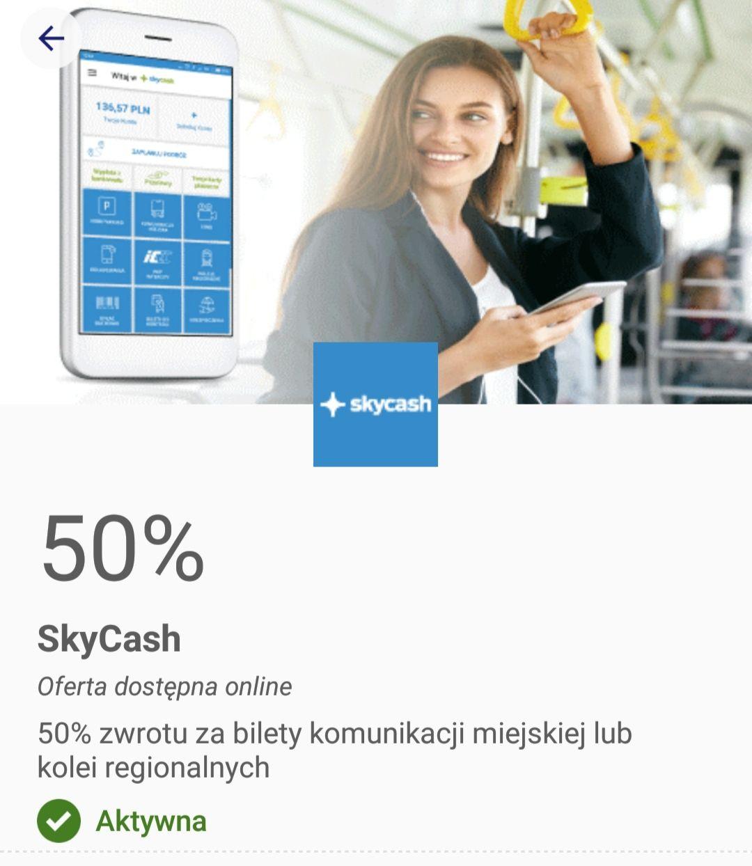 50% zwrotu za bilety komunikacji miejskiej lub kolei regionalnych Visa oferty  (max do 10zl)