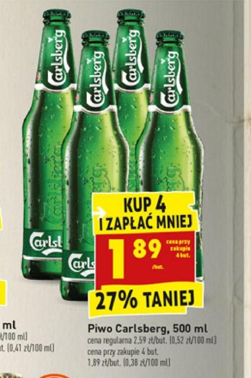 Piwo Carlsberg 1,89 zł za sztukę przy zakupie 4. /Biedronka