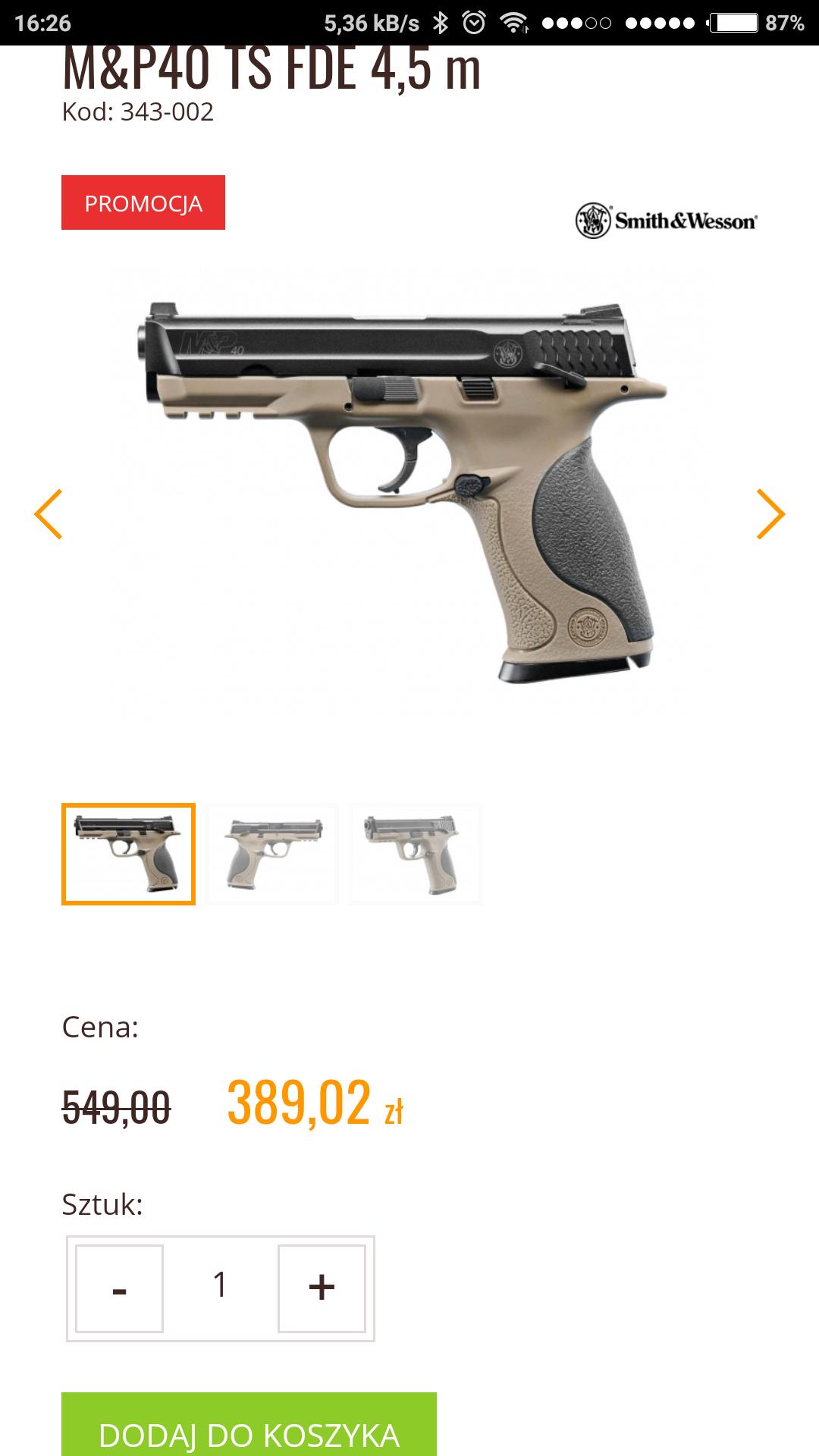 Pistolet wiatrówka Smith&Wesson M&P40 TS FDE 4,5 m