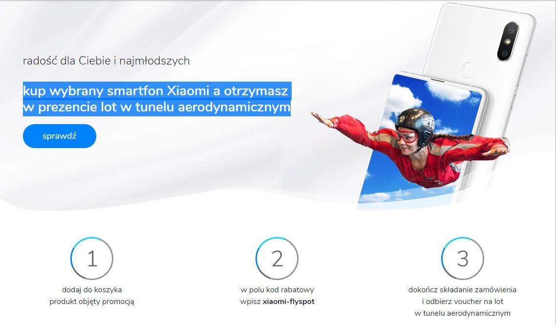 Lot w tunelu aerodynamicznym gratis  za zakup smartfona XIAOMI Mi8 lub Mi Mix 2S