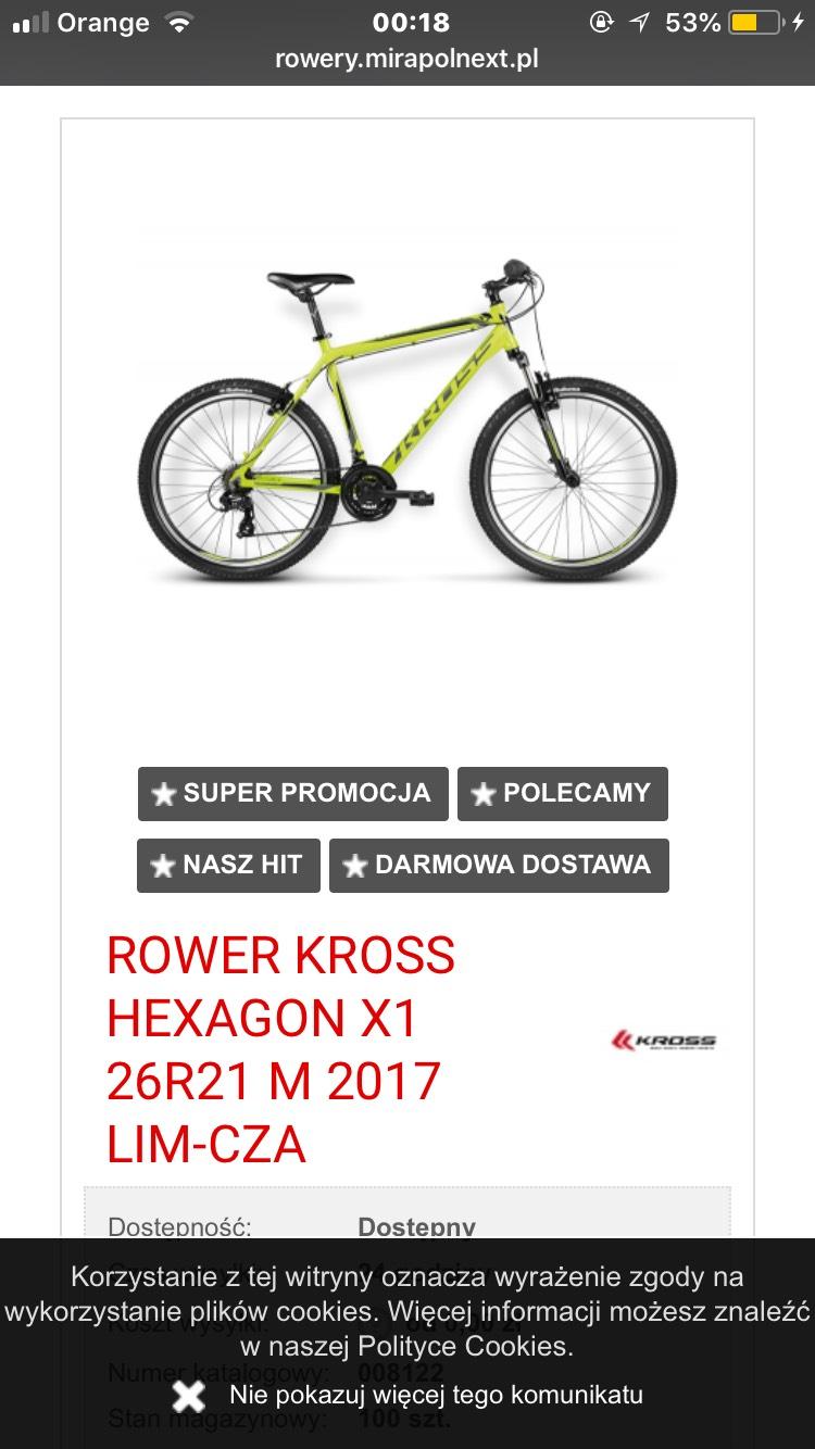 Super Promocje na Rowery (KROSS HEXAGON X1 za 949zł)