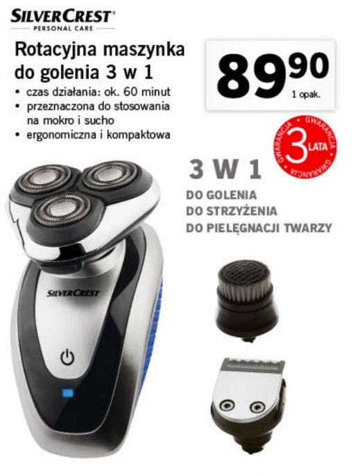 SILVERCREST Rotacyjna Maszynka do golenia 3 w 1. LIDL