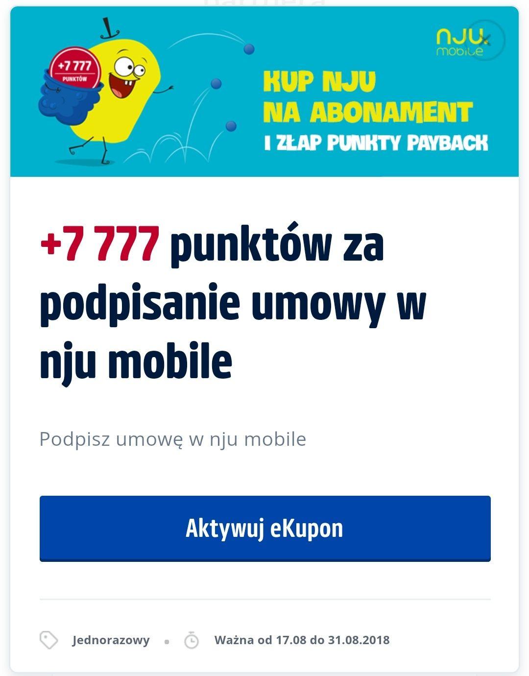 +7777pkt Payback (=77zł) za podpisanie umowy w NJU Mobile (możliwe wiecej!)