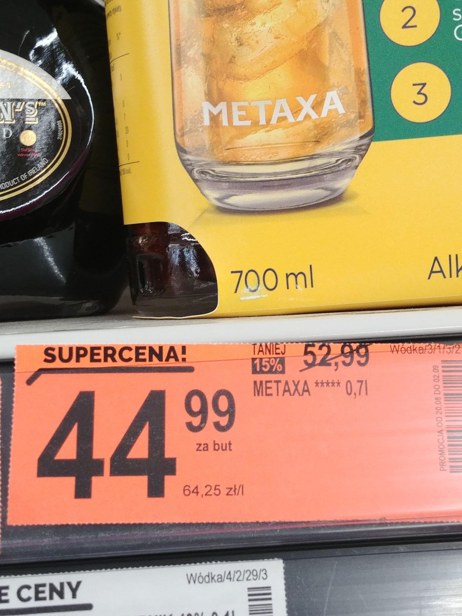 Metaxa 0,7l + Shweppes 0,5l Biedronka