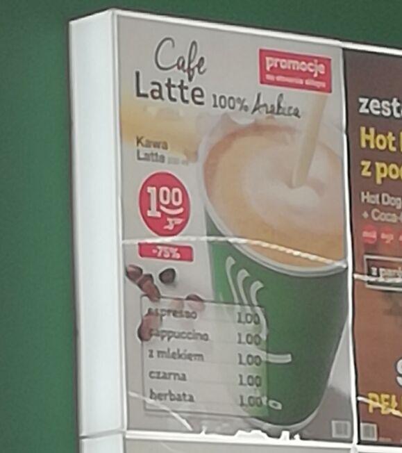 Wszystkie dostępne kawy za 1zl. Żabka Katowice Ligota