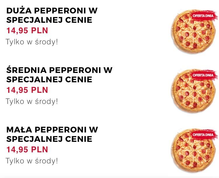 Duża pizza Pepperoni w środy na wynos za 14,95 zł @ Pizza Hut w Trojmiescie