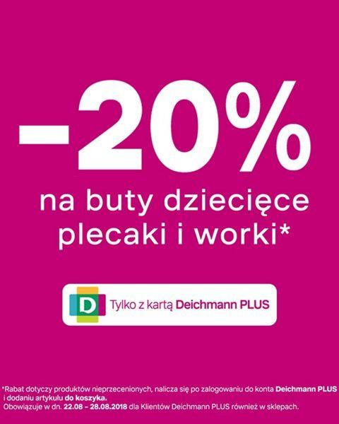 -20% na buty dziecięce plecaki i worki Deichmann