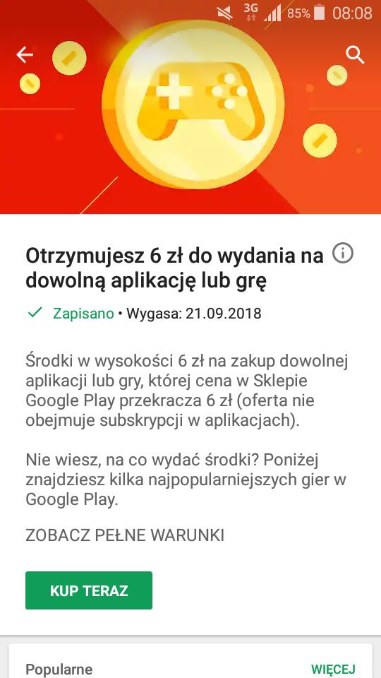 Darmowe 6 ZŁ do wydania w sklepie Google Play na grę lub aplikacje