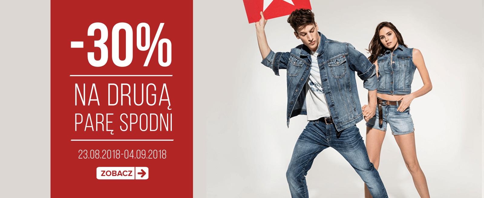 -30% na drugą parę spodni (obejmuje wyprzedaż) @ Big Star