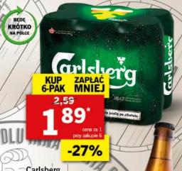 Piwo Carlsberg puszka 500 ml prz kupnie 6-pak LIDL