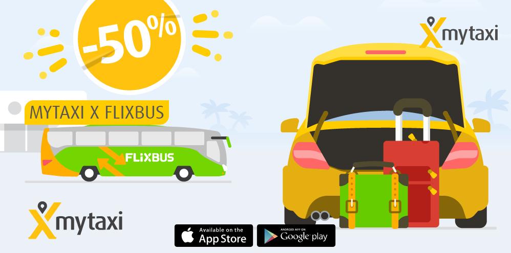 mytaxi -50% na przejazdy z/do dworców FlixBus