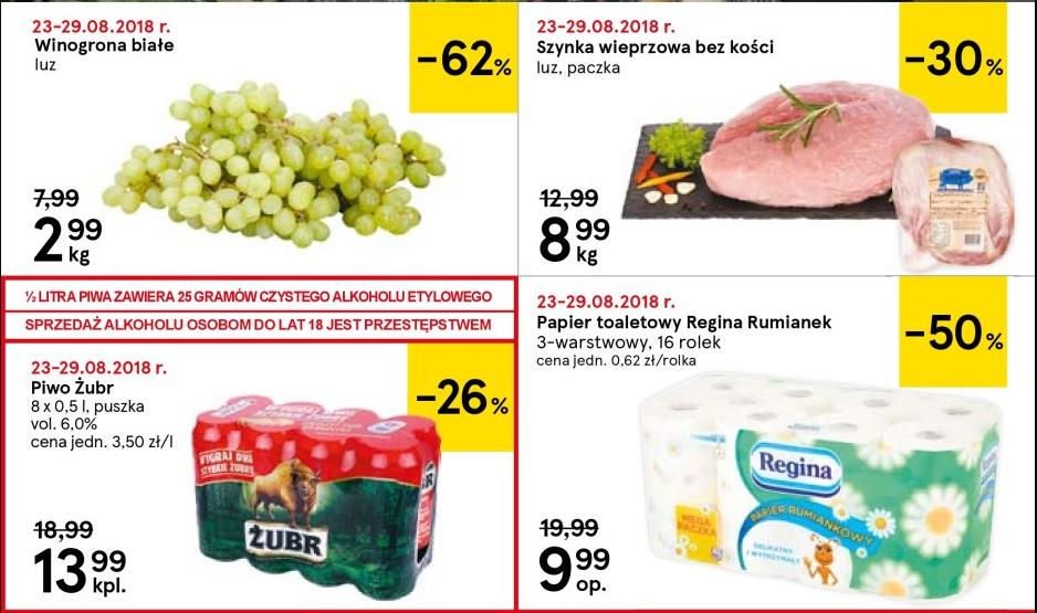 Żubr, winogrona, szynka wieprzowa, papier Regina / Tesco Gdynia