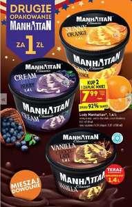 Biedronka - 7,99 /1,4l lody Manhattan przy zakupie 2, 2+1 gratis wybrane na patyku
