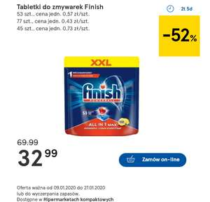 TESCO: Tabletki do zmywarek Finish 53 szt