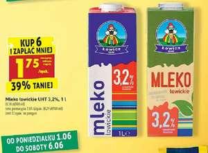 Mleko Łowickie 1l UHT 3,2%. Kup 6 i zapłać mniej. Biedronka
