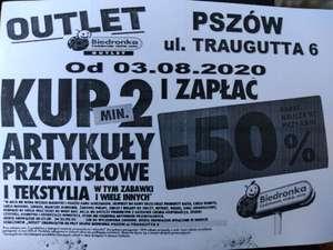 Kup 2 art. przemysłowe i tekstylia, -50% rabatu na każdy z nich - Otwarcie Outletu Biedronki Pszów ul. Traugutta 6