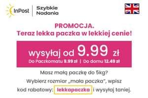 InPost paczka do 5 kg w gabarycie A za 9,99 zł / 12,49 zł