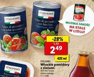 Tydzień włoski Lidl produkty ITALIAMO|włoskie pomidory z ziołami 2,49zł|lody włoskie 500g 7,99zł przy zakupie 2szt.|makaron Tricolore 3,49zł