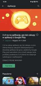3 zł na na aplikację, grę lub zakupy w aplikacji z Google Play