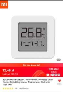 XIAOMI Mijia Bluetooth Thermometer 2, $3.24