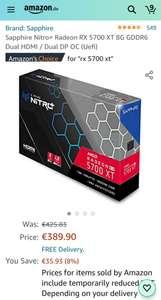 Sapphire Nitro+ Radeon RX 5700 XT 8G GDDR6 Dual HDMI / Dual DP OC (Uefi) 413,43 €