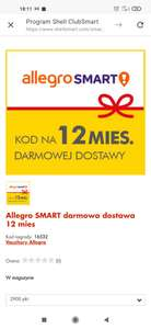Allegro Smart 12 miesięcy za punkty Shell Clubsmart(2900 pkt.) dostępne również inne vouchery