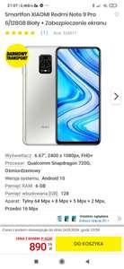 Smartfon XIAOMI Redmi Note 9 Pro 6/128GB Biały + Zabezpieczenie ekranu