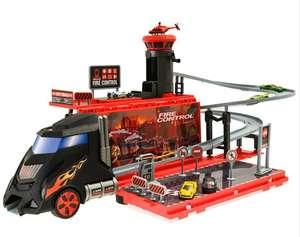 Smiki, transporter z garażem, tor, 6 samochodzików, 1 helikopter, akcesoria