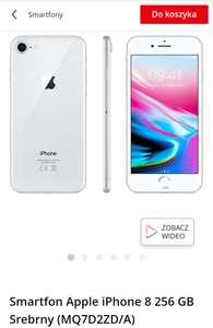 Smartfon Apple iPhone 8 256 GB Srebrny (MQ7D2ZD/A)