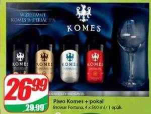 Zestaw piw KOMES 4 x 500ml + pokal (teku). Dino