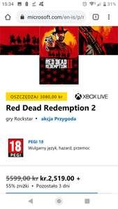 RED DEAD REDEMPTION II STANDARD EDITION XBOX ONE CYFROWA