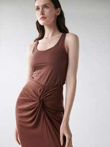 Brązowa spódnica z wiązaniem z przodu XXS-L @sinsay