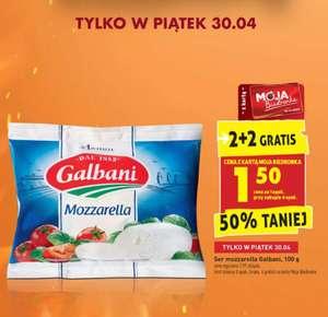 Biedronka, mozzarella Galbani 100g 2+2 gratis (cena podana za 1 szt przy zakupie 4)